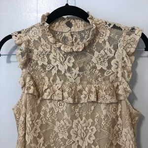 Bleuh Ciel Cream Sleeveless Blouse Sz S